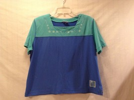 Good Condition Cyan Soft Blue Short Sleeved Tee Shirt Koret Francisca - $34.64