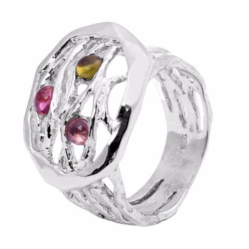 Fashionable Multi Tourmaline Gemstone 925 Sterling Silver Ring Sz 7.5 SHRI0732