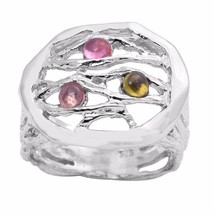 Fashionable Multi Tourmaline Gemstone 925 Sterling Silver Ring Sz 7.5 SH... - $23.39