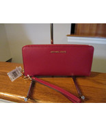 Michael Kors Travel Leather Continental Zip Wallet Jet Set Berry Pink $1... - $94.04