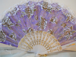 Asian Lavender Embroidered Lace Floral Fan  n126 - $12.99