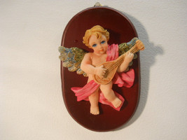Musical Hand Painted Cherub Wall Hanging Plaque - $15.99