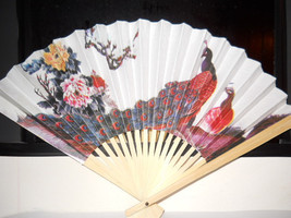 Peacock Floral Folding Hand Fan #95 - $7.99