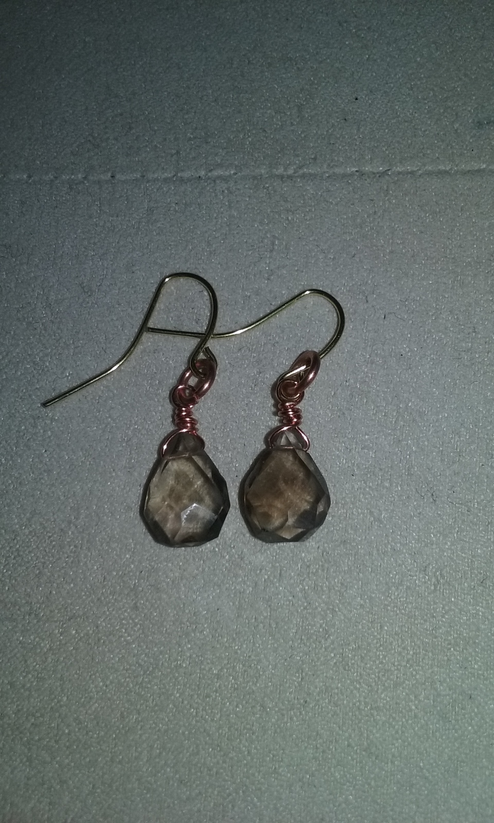 Artisan Handmade Genuine Smoky Quartz Gemstone Wire Wrap Gold Plated Earrings