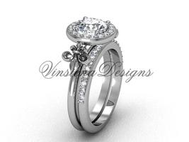 Platinum  diamond, Fleur de Lis engagement ring, Moissanite VD208129S - $3,220.00