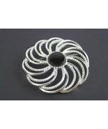 Vintage Sarah Cov Pin Brooch Silver Tone Round Star Flower Pattern - $11.81