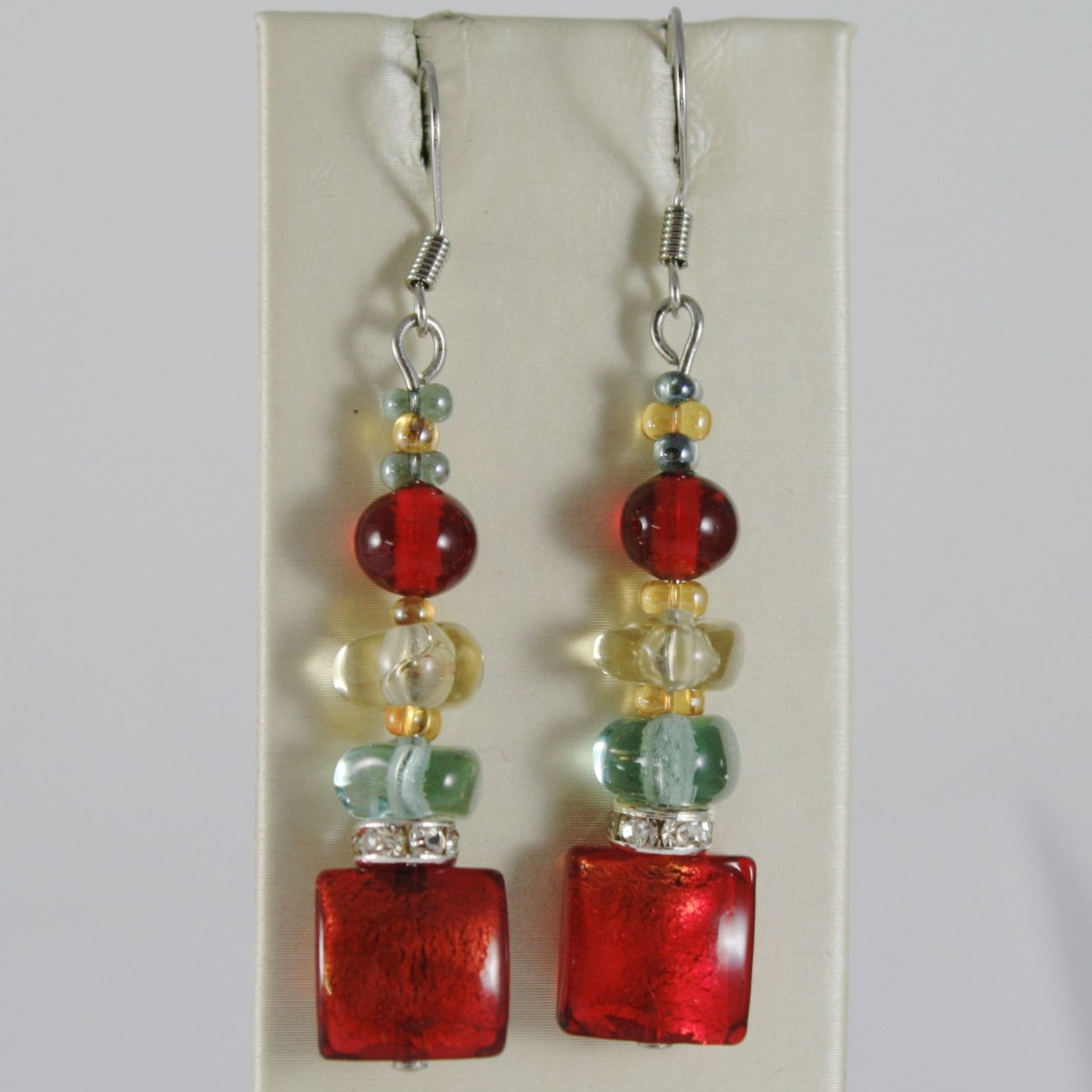ANTICA MURRINA VENEZIA PENDANT HOOK EARRINGS, RED, YELLOW & BLUE