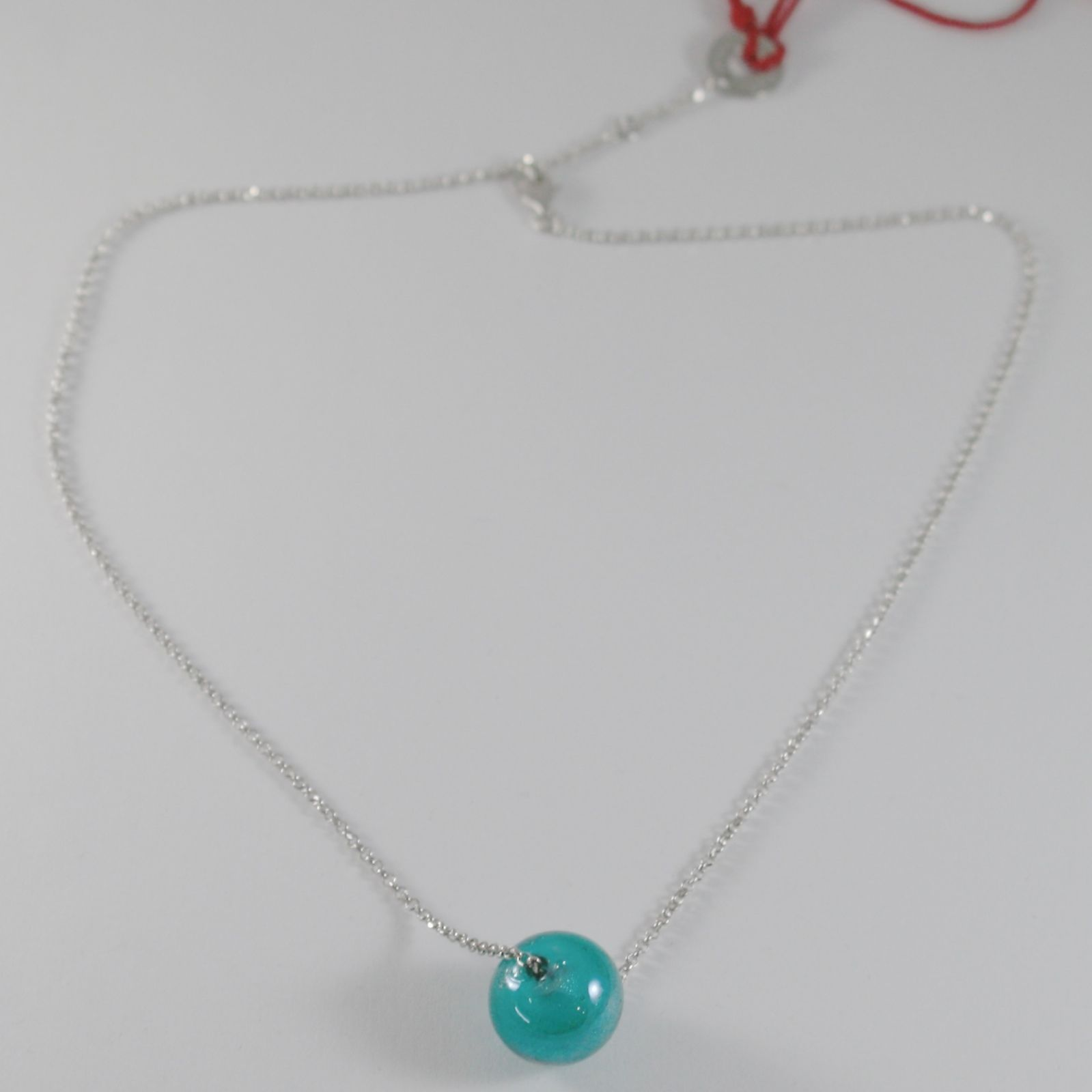 ANTICA MURRINA VENEZIA TURQUOISE SPHERE BALL 15 MM NECKLACE, 50 CM, 20 INCHES