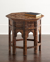 Horchow Anthropologie French Moroccan Joli Bone Inlay Accent Table $1329 - €737,63 EUR