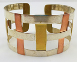 RLM STUDIO Robert Lee Morris Sterling Silver Brass Copper Weave CUFF BRACELET