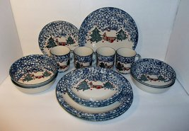 Tienshan Spongeware Cabin in the Snow 16 Piece Dinner Set - $194.03