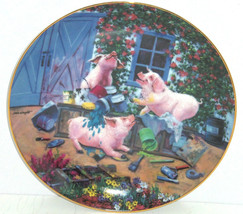 Pigs in Bloom Hogs Pigmentation Collector Plate Danbury Mint Pig Retired - $59.95
