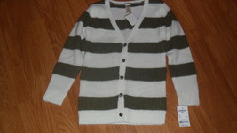 Osh Kosh Girls Sweater Size 10 Cardigan White Olive Stripe MSRP:$38.00 Nwt - $16.99
