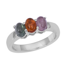 Multi Color Three Tourmaline Jewelry Ring 925 Sterling Silver Ring Sz 7 ... - $19.87