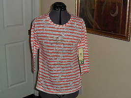 Palm Harbour Knit Top Shirt Size Pm White Orange Stripe Beaded Nwt - $15.99