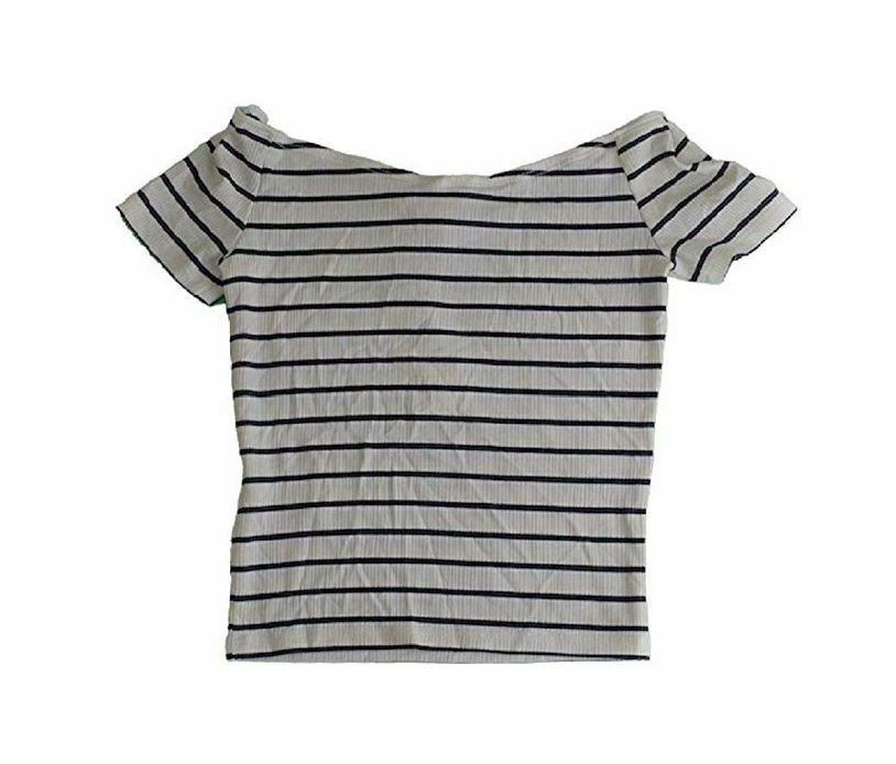 Denim & Supply Ralph Lauren Striped Off-The-Shoulder Top White X-Large