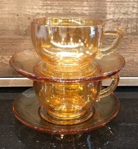 Vintage Peach Luster Cup & Saucer Set of 2 Unmarked - $21.99