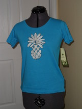 Palm Harbour Knit Top Size Pm Blue Pineapple Beaded Embroidered Nwt - $15.79