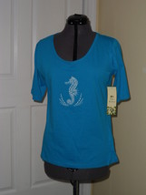 Palm Harbour Knit Shirt Top Size Ps Blue Seahorse Beaded Nwt - $15.89