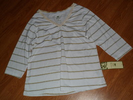 Palm Harbour Knit Shirt Size S White Gold Lightweight Nwt - $15.89