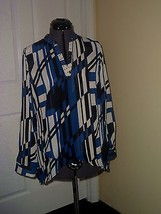 Notations Blouse Top Size 2 Blue Black White Print Beaded Nwt - $19.98