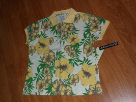 Palm Harbour Knit Shirt Size Pl Stretch Yellow Floral Print Nwt - $15.79