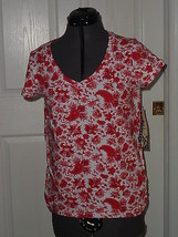Palm Harbour Knit Shirt Size Ps Stretch Red White Floral Print Nwt - $15.89