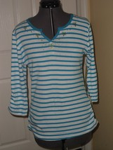 Palm Harbour Knit Top Shirt Size S Blue White Stripe Beaded Nwt - $15.99