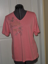 KORET KNIT TOP SHIRT SIZE PXL PINK EMBROIDERED BEADED NWT - $19.48