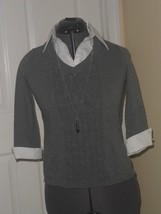 NOTATIONS SWEATER TOP SIZE PS GRAY WHITE NECKLACE NWT - $19.48