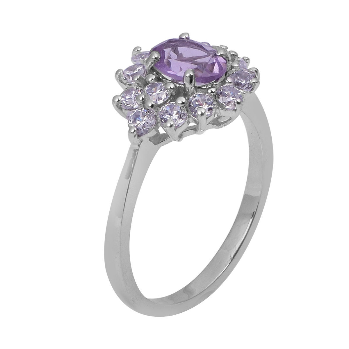 Flower Amethyst And White Topaz 925 Sterling Silver Jewelry Ring Sz 7 SHRI0761