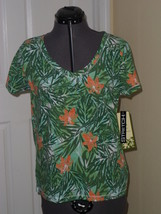 Palm Harbour Knit Top Shirt Size S Stretch Green Floral Print Nwt - $15.79