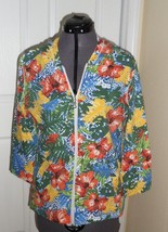 Palm Harbour Knit Top Shirt Size Pxl Stretch Hood Floral Print Nwt - $17.98