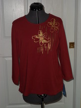 KORET KNIT TOP SHIRT SIZE M 10/12 GOLD SEQUINS TUSCAN RED MSRP:$42.00 NWT - $21.99