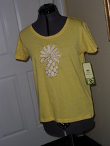 Palm Harbour Knit Top Size S Yellow Pineapple Beaded Embroidered Nwt - $15.79