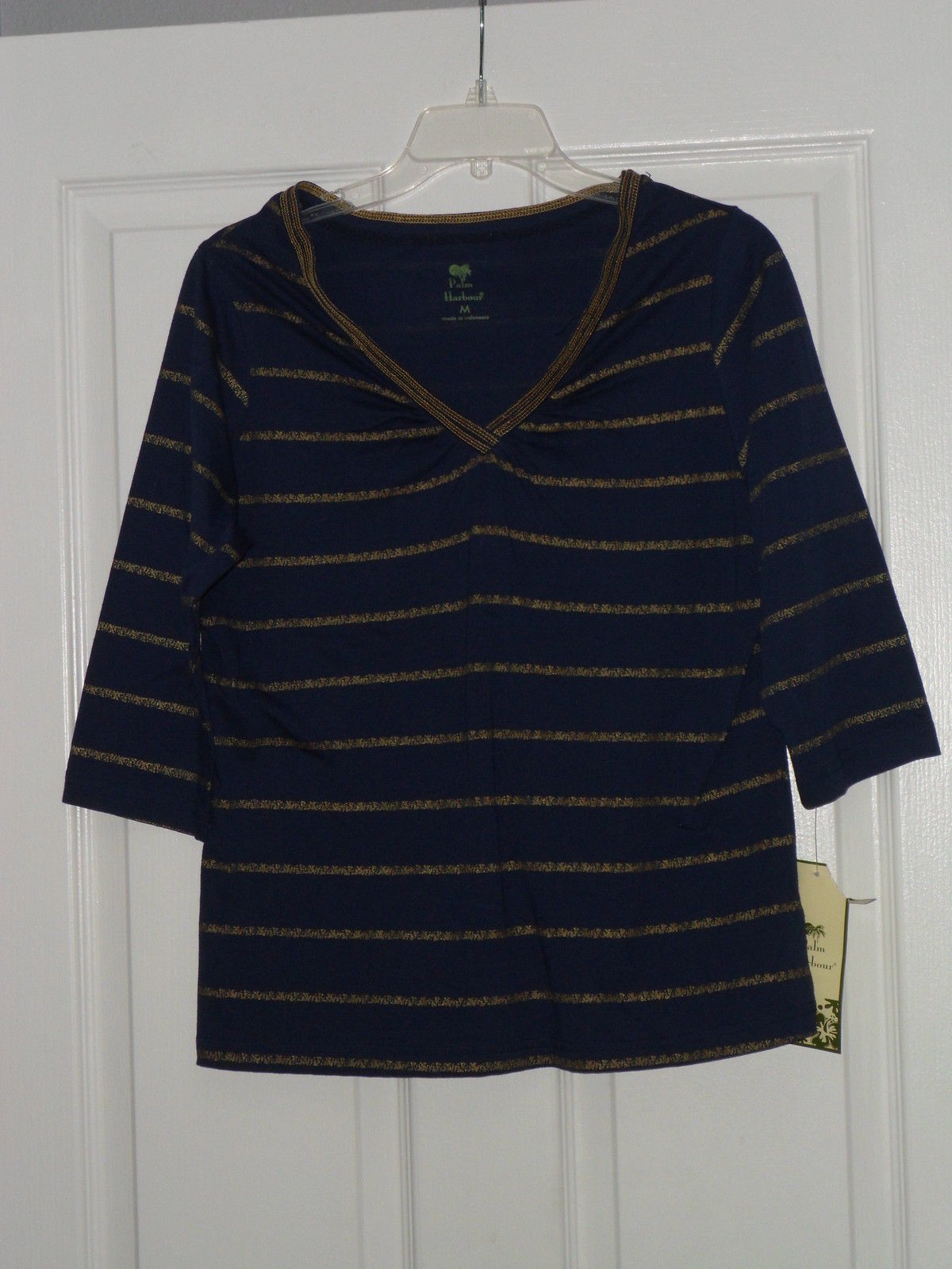 PALM HARBOUR KNIT SHIRT SIZE PS BLUE GOLD LIGHTWEIGHT NWT - $15.79