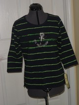 Palm Harbour Knit Top Shirt Size S Stretch Navy Blue Beaded Anchor Sequins Nwt - $16.98