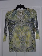 ENERGE KNIT TOP SHIRT SIZE PXS GREEN PRINT BEADED NWT - $15.99