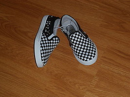 PARIS BLUES GIRLS SLIP-ON SNEAKERS SIZE 13 BLACK WHITE CHECK BEADS STUDS... - $18.49