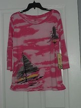 Palm Harbour Knit Top Shirt Size Pm Pink Sailboats Nwt - $15.99