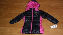Puma Girls Quilted Jacket Hood Size 4 Black Pink MSRP:$80.00 Nwt - $28.99