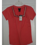 R.Q.T. SIGNATURE STYLE KNIT TOP SHIRT SIZE S STRETCH CORAL BEADED MSRP:$... - $15.99