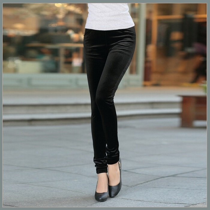 Black Stretch Velvet High Waist Front Pockets Tight Velour Legging Pants