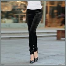Black Stretch Velvet High Waist Front Pockets Tight Velour Legging Pants image 1