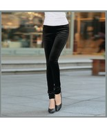 Black Stretch Velvet High Waist Front Pockets Tight Velour Legging Pants - $46.95