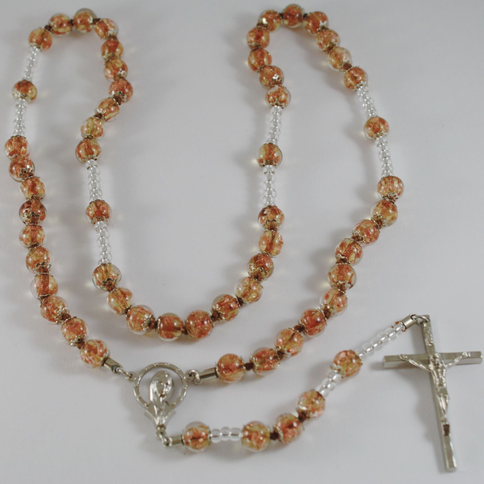 ANTICA MURRINA VENEZIA ROSARY NECKLACE, BEIGE VIRGIN MARY JESUS CROSS 27.5 INCH.