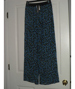 ESPRESSO COVER UP PALAZZO PANTS SIZE S BLUE FLORAL PRINT NWT - $17.98