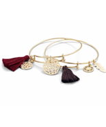 Hot New Expandable Tassel Charm Bangle Bracelets in Various Colors, Stac... - $21.49