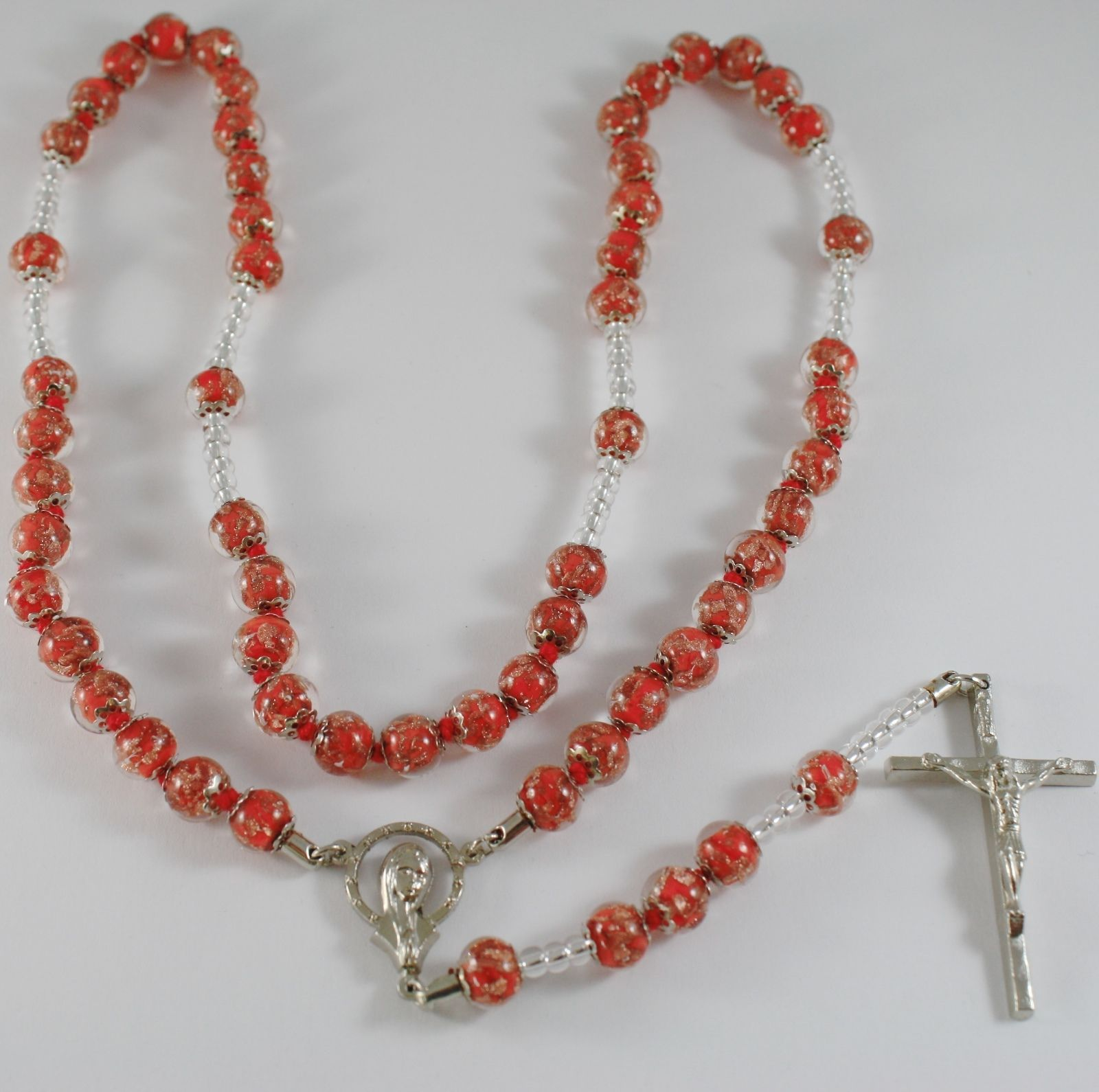 ANTICA MURRINA VENEZIA ROSARY NECKLACE, RED, VIRGIN MARY JESUS CROSS 27.5 INCH.