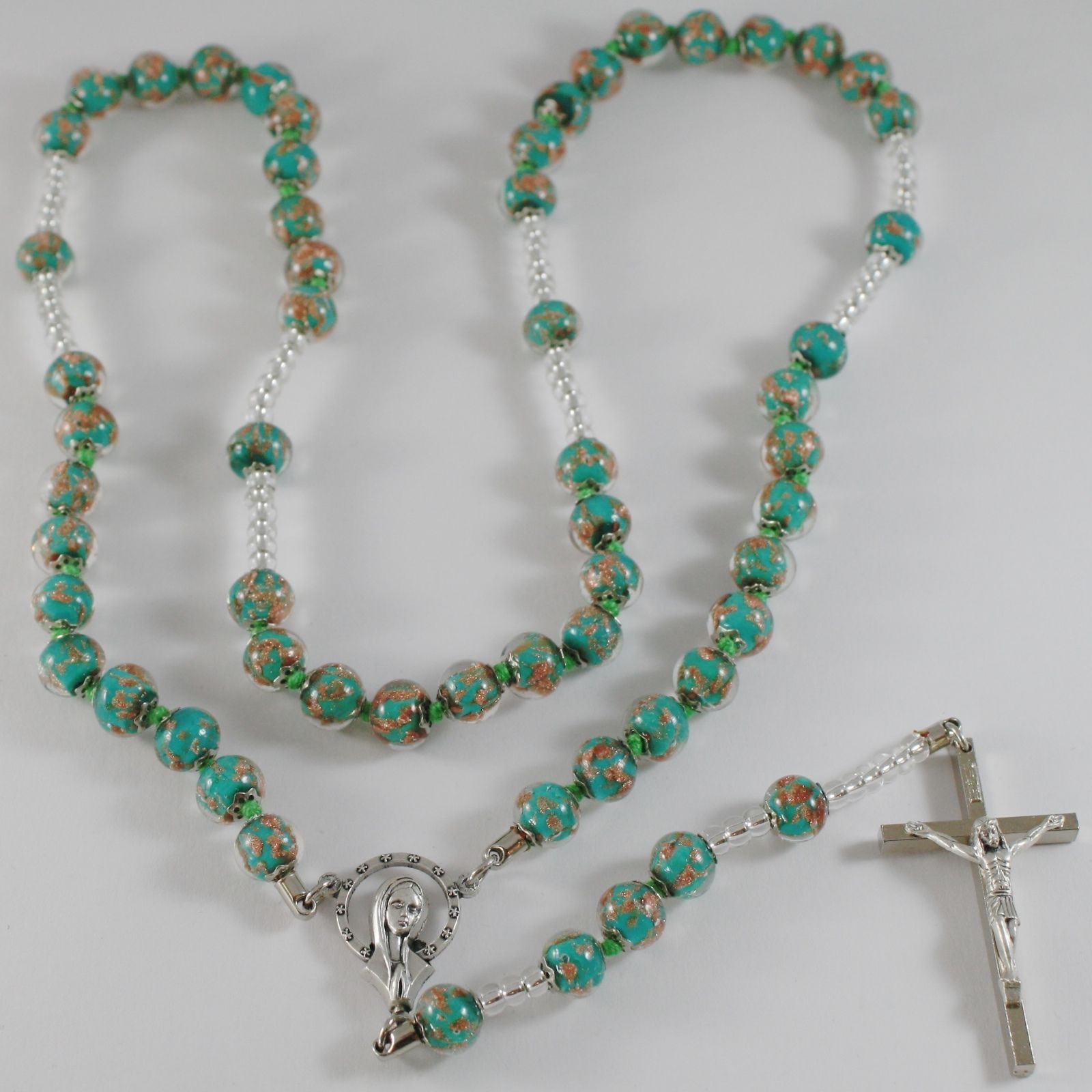 ANTICA MURRINA VENEZIA ROSARY NECKLACE, GREEN VIRGIN MARY JESUS CROSS 27.5 INCH.